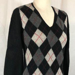 Apt 9 Cashmere Sweater, Black/Grey/Red Argyle, L